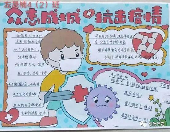 怀安县柴沟堡镇实验小学手抄报比赛助力抗击疫情