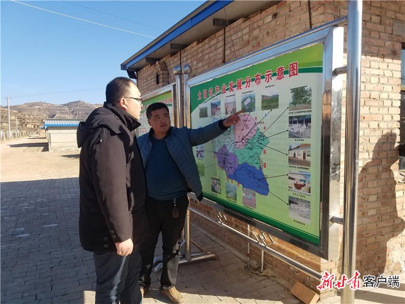 2018年12月12日,邱军(左一)在华池县城壕镇太阳村调研基础设施建设和产业发展情况。