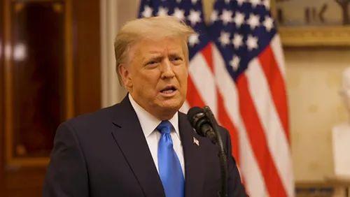 19日特朗普在白宫发表告别演讲,图自:澎湃影像