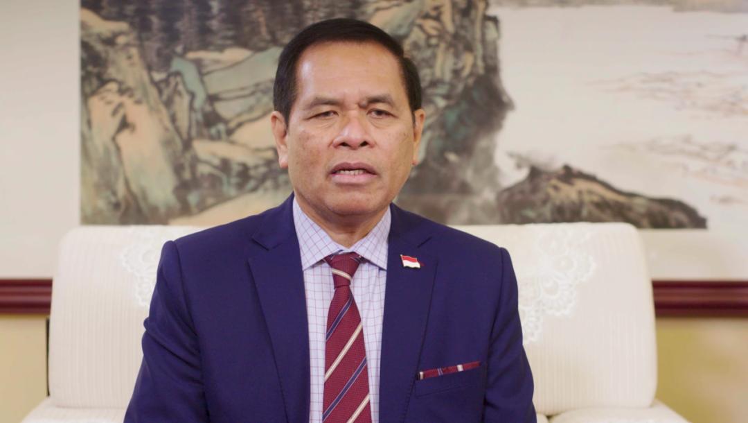 ▲印尼驻中国大使周浩黎(Djauhari Oratmangun)