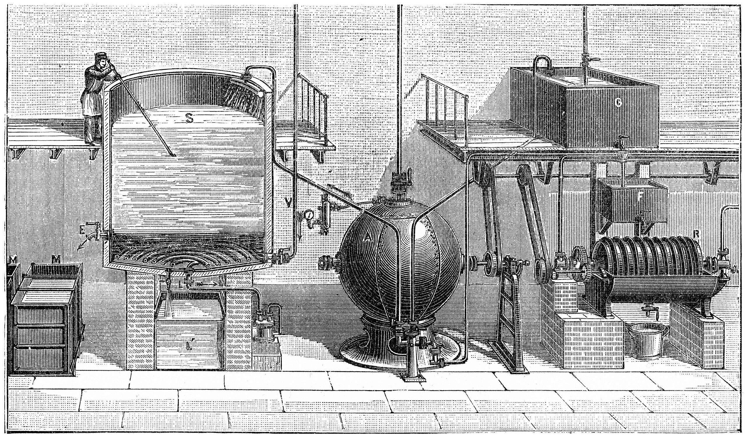 19世纪法国的工业制皂工艺,摘自《工业与工业艺术百科全书》, E. O. Lami,1881-88, 第8卷,第82页(图片来源:Alamy)