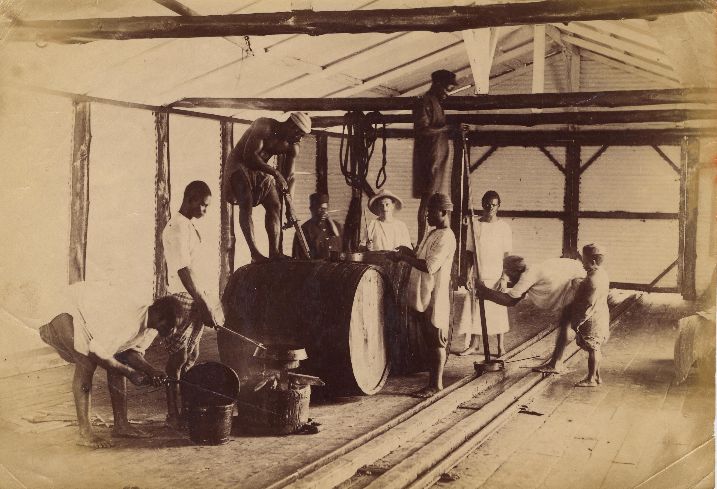 大约19世纪末的棕榈油工厂,地点可能在奥波博(Opobo)或邦尼。图片版权 ©Jonathan Adagogo Green/大英博物馆托管会,CC BY NC SA