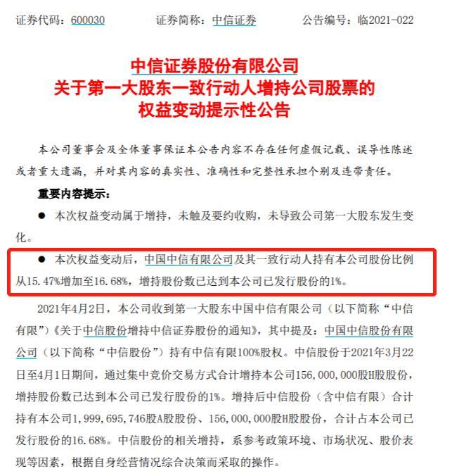 「南昌配资」罕见!中信证券获第一大股东猛增持,9天扫货