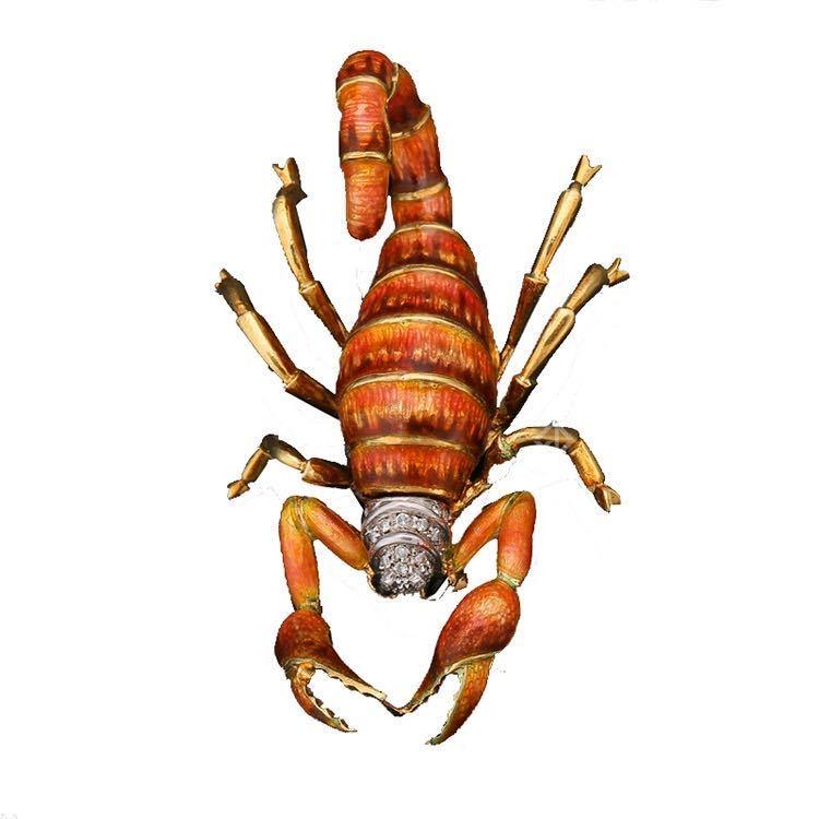 1960年代珐琅彩钻石昆虫系列蝎子胸针 图源于风笛艺术电商平台