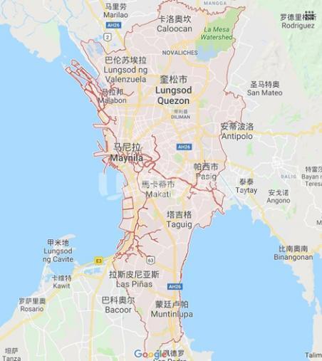 """红色区域为""""大马尼拉区"""" 图源:谷歌地图"""