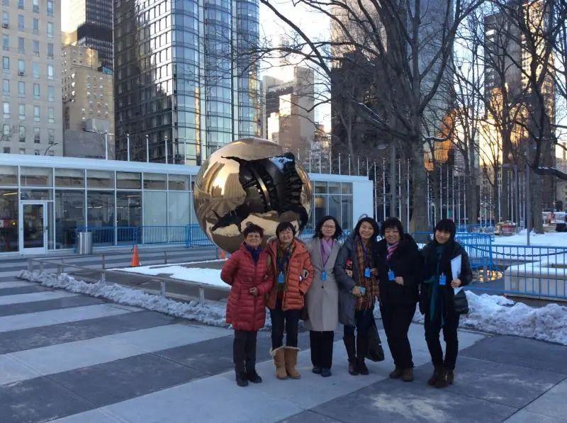 """2015年,在纽约联合国大厦,参加""""北京世界妇女大会+20""""的NGOs论坛。左一为赵捷"""