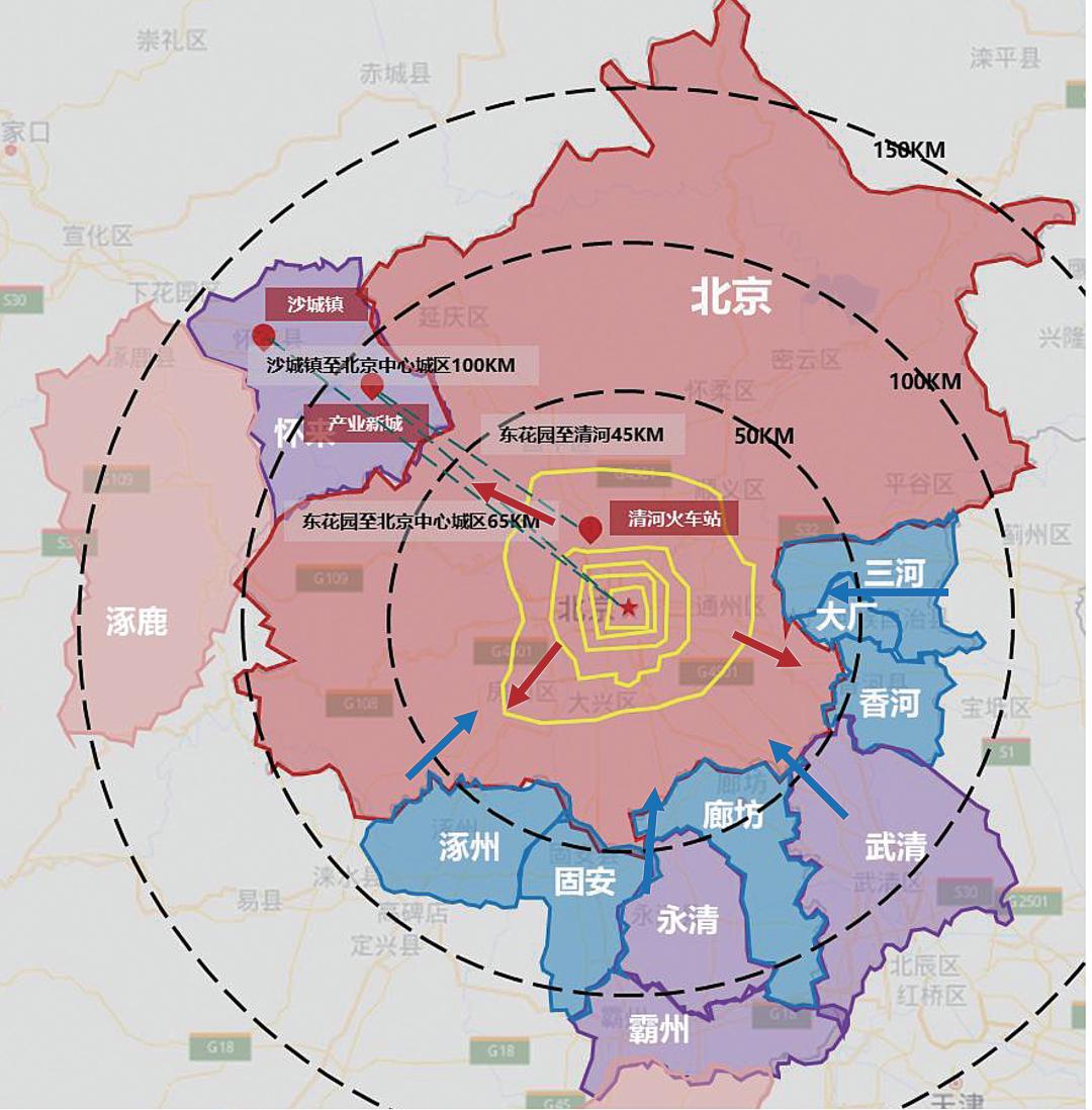 北京都市圈内圈层资本、人口、服务密度极高,外圈层分布较疏,未来增加主要集中在外圈层。